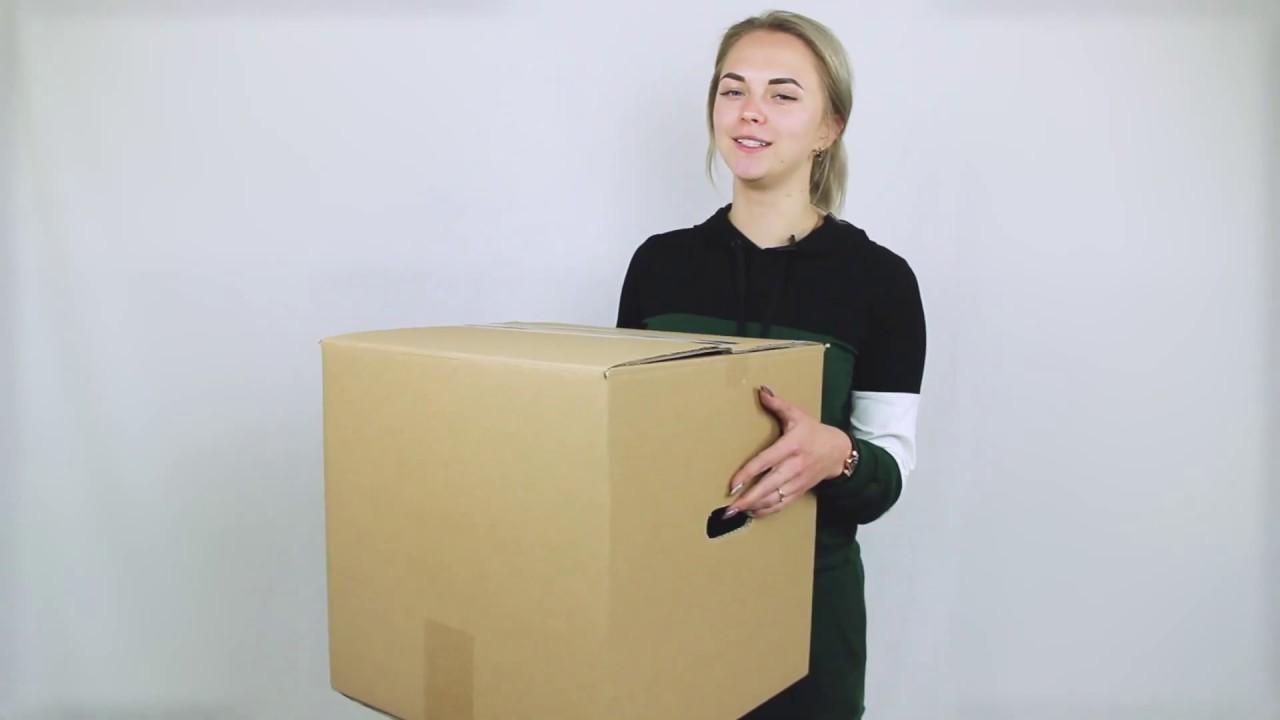 Сверхпрочная картонная коробка (64 литра) с ручками