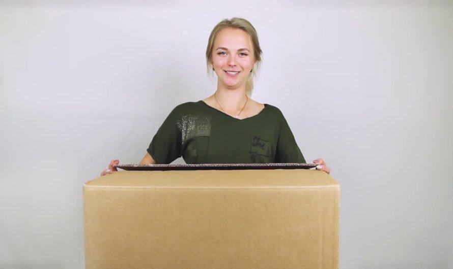 Сверхпрочная картонная коробка для переезда (96 литров) с ручками